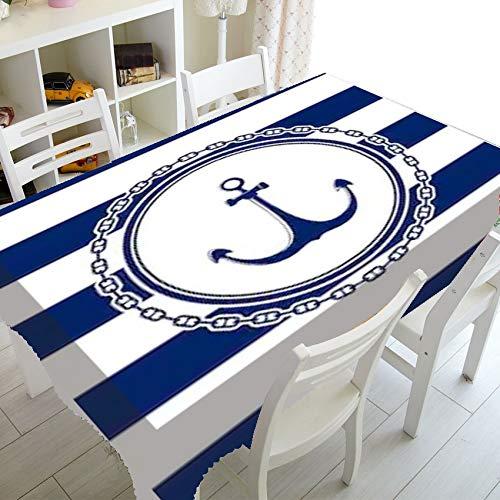 XXDD Cubierta de Mesa de Comedor Rectangular Impermeable Simple Mantel a Rayas Azul y Blanco Mantel Lavable a Prueba de Polvo A9 140x140cm
