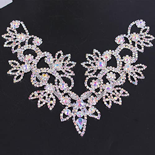1 pieza de plata base cristal claro color DIY boda vestido de noche Prom alta calidad costura en Rhinestone vestido nupcial apliques 14