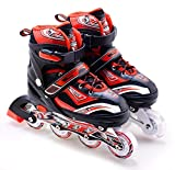 The Magic Toy Shop Childrens Adults Kids Boys Girls 4 Wheel Adjustable Inline Skates Roller Blades (Red/Black,...