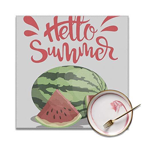 Houity Zomer Watermeloen Wasbaar Zacht Voor Keuken Diner Tafelmat, Gemakkelijk te reinigen Handige Opvouwbare Opslag Placemat 12x12 Inches Set Van 4