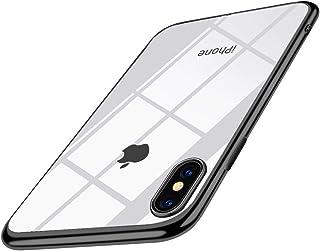 iPhone XS ケース クリア 耐衝撃 TPU メッキ加工 透明 ソフトシェル 指紋防止 Qi充電対応 おしゃれ かわいい シリコン 最軽量 スリム 薄型 一体型 人気 防塵 アイフォン 耐衝撃カバー 高級感 ブラック