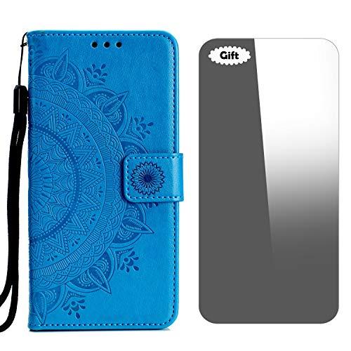 Galaxy J5 Prime/On5 2016 Hülle, Conber Lederhülle Handyhülle + [Frei Schutzfolie], Totem Kartenfach PU Tasche Leder Flip Case Cover Schutzhülle für Samsung Galaxy J5 Prime/On5 2016 - Blau