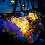 VENTUOS Solar Glass Lanterns Outdoor Waterpoof 2 Pack 30 LED Hanging Mason Jar Glass Light Decor for Patio Garden solar light for home decoration (WARM WHITE LIGHT)