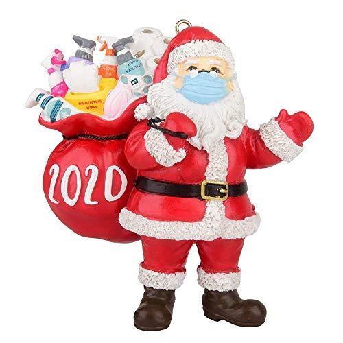 PandainspirS Weihnachtsschmuck 2020, Christbaumschmuck Weihnachtsbaumschmuck - Weihnachtsmann mit Maske