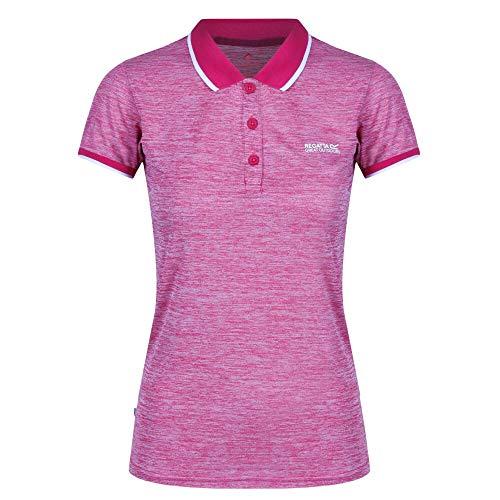 Regatta Polo Technique REMEX II léger et Respirant pour séchage Rapide avec col boutonné T-Shirts Vests Femme, Dark Cerise, FR : XS (Taille Fabricant : 10)