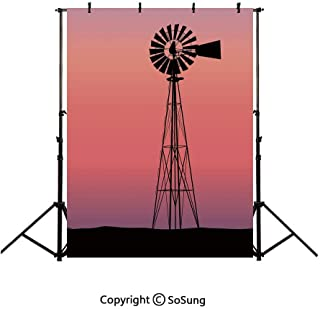 10x15Ft Vinyl Windmill Decor Backdrop for Photography,Windmill Silhouette at Dreamlike Sunset Western Ranch Agriculture Background Newborn Baby Photoshoot Portrait Studio Props Birthday Party Banner
