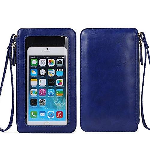 Kleine süße Handy-börse mit Touchscreen-Fenster für Damen Crossbody-Tasche für iPhone 12 Pro Max, 11 Pro Max, XS Max, iPhone 12, 11, XR, Moto G8 Power Play E6 Plus E6S Z4 Z3 Pixel 3a (blau)