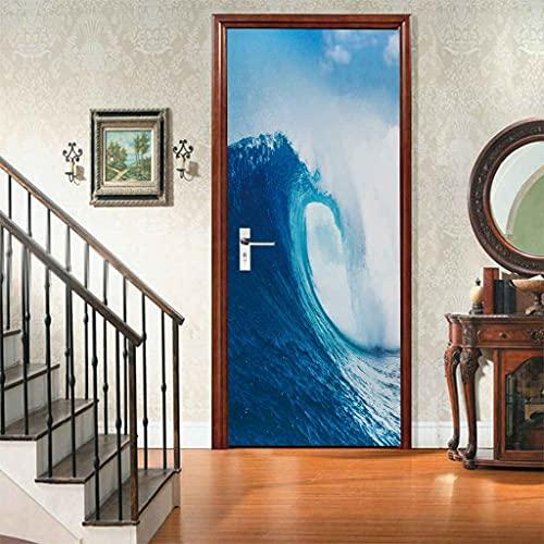 CUUDBP Etiqueta De La Puerta 3D Murales Autoadhesiva Vinilo Ola Azul Grande Papel Tapiz Carteles Pegatinas De Pared Para Dormitorio Cuarto De Niños Arte Moderno Decoraciones 77X200Cm