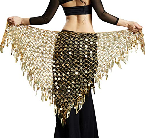 Women Belly Dancing Wrap Skirts Hip Scarf Gypsy Scarf with Sequins Plus Size Costume Belt Gold