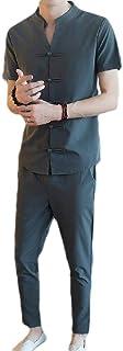 MogogN Mens Linen Pure Color Stand Collar Slim Short Sleeve Sweatshirt+Pants Sets