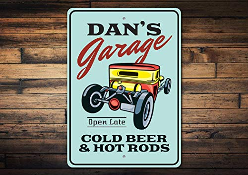 Persoonlijke Garage Sign, Hot Rod Garage, Koud bier en hete staven, Garage Sign, Hot Rod Liefhebbers, Oude Spier Auto's, Auto Liefhebbers - Metal Car Signs