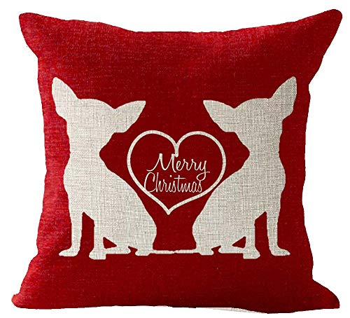 Red Merry Christmas Cute Animal Dog Chihuahua in The Heart Holiday Blessing Gift Cotton Linen Square Throw Waist Pillow Case Decorative Cushion Cover Pillowcase Sofa 18'x 18'
