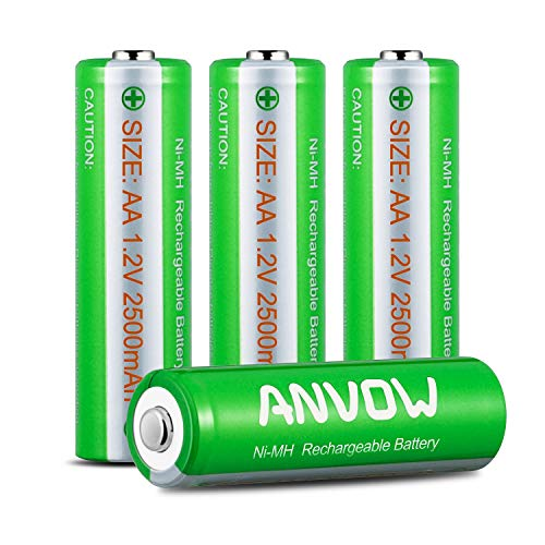 ANVOW Smart AAAA Battery Charger with 2 Counts Rechargeable AAAA Batteries Ni-MH 1.2V 400mAh 1200 Cycles Surface Pen Active Stylus Rechargables Battery