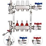 VEVOR Distribuidor de Circuito de Calefacción 3 Puertos de Calefacción, Conjunto de Calefacción de Acero Inoxidable 304, Máximo Flujo por Rama Individual 1,4 GPM, Distribuidor de Calefacción por Suelo