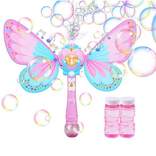Hongfago Bubble Machine - Máquina de pompas de jabón con música y luz, para niños y niñas, fiestas de cumpleaños