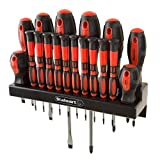 Stalwart - 75-HT4088 18 Piece Screwdriver Set with Wall Mount and Magnetic Tips- Precision Kit Including Flatheads, Phillips, and Torx Screwdrivers By