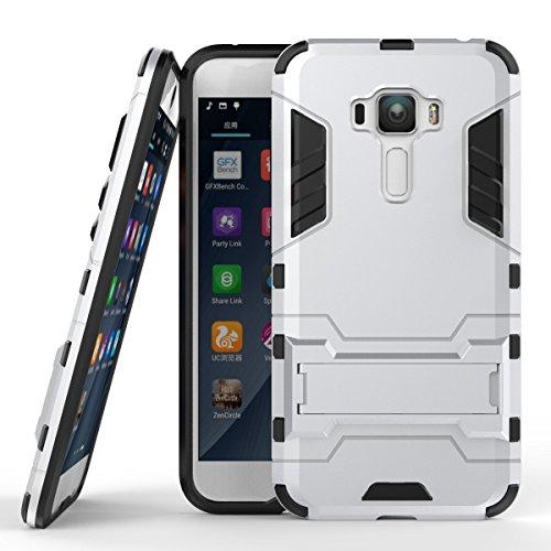 Ycloud Tasche für Asus Zenfone 4 Selfie Pro ZD552KL Hülle, stärkste Handy Shock Proof Armor Dual Schutzabdeckung Hochfeste PC Kunststoffoberschale Shockproof mit Halterung Schutzabdeckung Silber