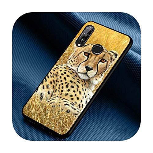 Phone cover Funda de silicona con estampado de leopardo para Huawei P30 P20 P40 Lite E Pro P Smart Z Plus 2019 P10 P9 Lite, color negro, estilo 07 para Huawei P30 Pro