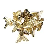 VOSAREA Protectores de Esquinas de Metal Ángulo del Decorativo Vintage de época Cubierta de Esquina para Mesa de Madera 30 Piezas y Clavos 120 Piezas (Amarillo)