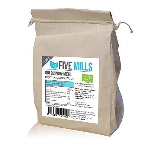 Five Mills | Quinoa bloem | Biologisch | 500g | 100% veganistische quinoa | Tarwe vervanger | Essentiële aminozuren | Zonder gluten