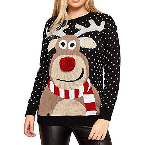 DISCOUNTL Weihnachtsstrickjacke Frauen Rundhalsausschnitt Lose Sweatshirt Damen Langarm Hirsch Rollkragenpullover (Produkte enthalten nur Pullover)