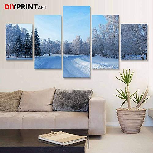 rkmaster-straat door het winterbos 5-plank moderne kunst schilderij canvas muurschildering, woonkamer A2282 || schilderij | kalligrafie | huis en tuin