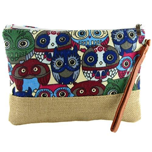 Zisla Bolso cartera de mano clutch para mujer de lona, neceser monedero étnico hippie. 26 x 19 Cm. (Beig Buhos)