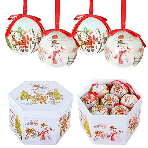 YILEEY Bolas de Navidad Hechas a Mano 14 pcs - Ø 7.5 cm Caja de Regalo de Bolas Arbol de Navidad con Percha Adornos Arbol Navidad Irrompibles - Decoracion Arbol Navidad - Verde y Blancas ✅
