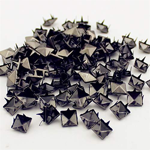 Remaches de cuero, Tamaño múltiple pistola-black piramida garras Rviets para cuero artesanía Cuadrado Turno de neumáticos y espigas para la ropa (Color : 10mm(100pcs))