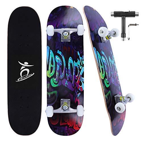Colmanda Skateboard 79 x 20 cm 31 pollici, Skateboard Completo 7 Strati di Acero Canadese Ruote ABEC-7, Skateboard per Principianti, Regalo di compleanno per Bambini Giovani Adulti (Graffiti-A)