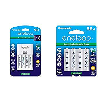 Panasonic K-KJ17MCA4BA Advanced Individual Cell Battery Charger Pack with 4 AA eneloop 2100 Cycle Rechargeable Batteries & eneloop AA 2100 Cycle Ni-MH Pre-Charged Rechargeable Batteries 4 Pack