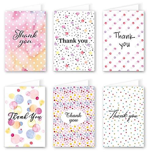 48 Dankeskarten Bulk, Ohuhu Dankeschön Grußkarten, leere Grußkarten mit Umschlägen und Dankeschön-Aufkleber für Abschlussfeier, Babyparty, Business, 6 Design