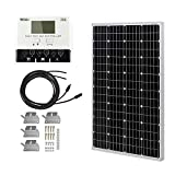 HQST 100 Watt 12 Volt Monocrystalline Solar Panel Kit with 30A PWM LCD Solar Charge Controller, 20Ft...