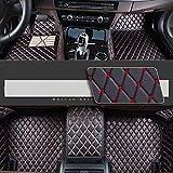 8X-SPEED Alfombrillas Coche de Cuero para For BMW Serie 7 730Li F02 2008-2013 Protección Alfombras de Cobertura Completa Antideslizante Moqueta Black Red