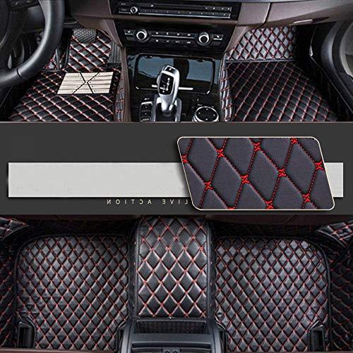 8X-SPEED Alfombrillas Coche de Cuero para For BMW X6 E71 2007-2014 Protección Alfombras de Cobertura Completa Antideslizante Moqueta Black Red