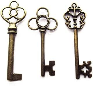 Aokbean Mixed Set of 30 Large Skeleton Keys in Antique Bronze - Set of 30 Keys