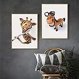 KWzEQ Estilo nórdico Perro de Dibujos Animados Jirafa Tela Arte Cartel Animal de Dibujos Animados para niños habitación,Pintura sin Marco,40X60cmx2