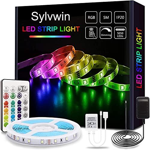 Sylvwin Striscia LED 5m RGB,Strisce LED RGB con Telecomando, 5050 LED Strisce LED Luminose con 16 Cambi di Colore, 4 modalità per la Casa, Camera da Letto,TV,Decorazioni per Mobili,Feste,12V
