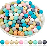 200 Pieces Silicone Beads 12 mm DIY Necklace Bracelet Jewelry Silicone Accessory Kit Mix Color Nursing Necklace Accessories Stylish DIY Jewelry Silicone Beads Accessory (Chic Color)