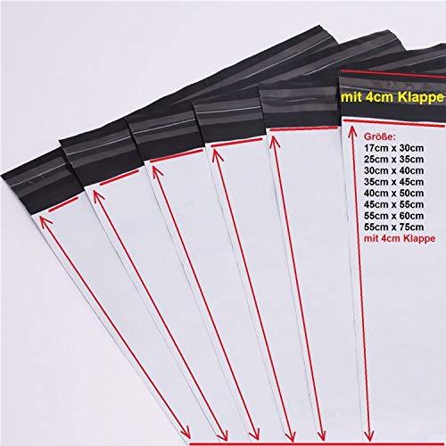 logei® 100St Plastik Versandtaschen Versandtüten Folienversandtaschen Versandbeutel Warenbeutel aus Plastik für Kleidung und Textilien selbstklebend, undurchsichtig (35cm x 45cm+5cm)