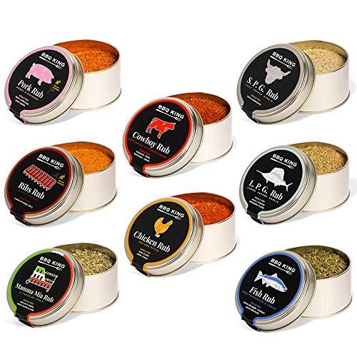 BBQ KING - Super Multipack Pitmaster Rub para Barbacoa, 8 Paquetes de 70 gr de Dry Rub Bbq, Mezcla de Especias 100% Made in Italy, 1 x Cada Sabor de la Selección BBQ KING