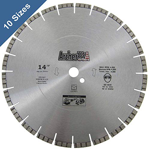 "Archer PRO 14"" in. Turbo Diamond Saw Blades for Fast Reinforced Concrete Cutting and Cured Concrete Cutting"
