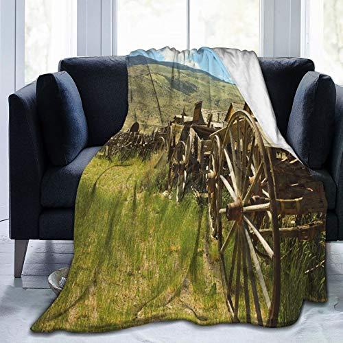 Manta de forro polar ultrasuave para adultos, manta de forro polar, línea de carros antiguos en aldea rural granja y colinas, manta suave y cómoda para sofá de 152 x 127 cm