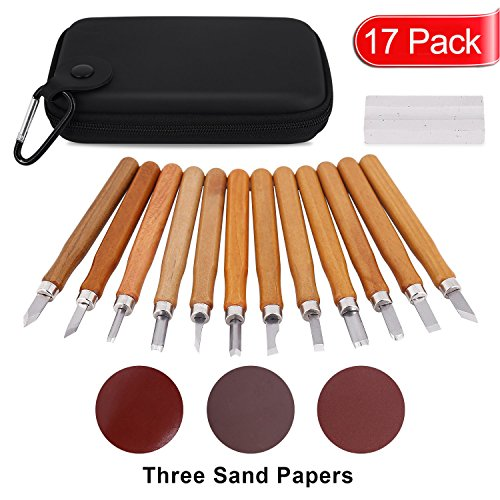 WoodCarvingKit,17 PCS Wood Carving Knife Tool Set for Beginners with Whetstones-Sand Paper and Storage Bag Professional Wood Carving Chisel Set