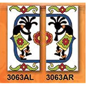 "Earthtones FLORAL DESIGN - TWO 3"" X 6"" Ceramic Tile Address House Numbers - Talavera White LEFT AND RIGHT ENDS"