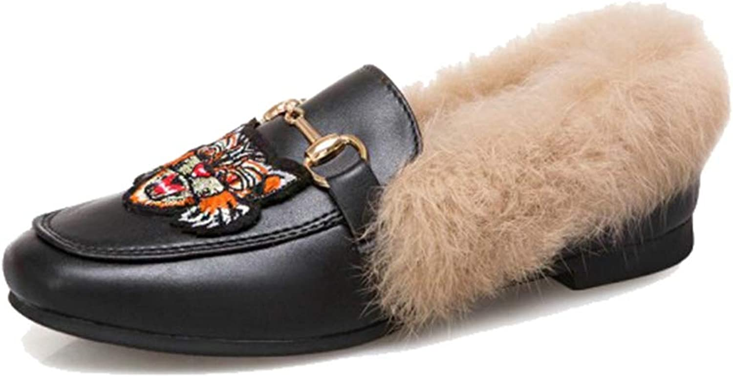 August Jim Women's Flats shoes,2018 Slip-on Round Toe Warm Fur Flats Loafers