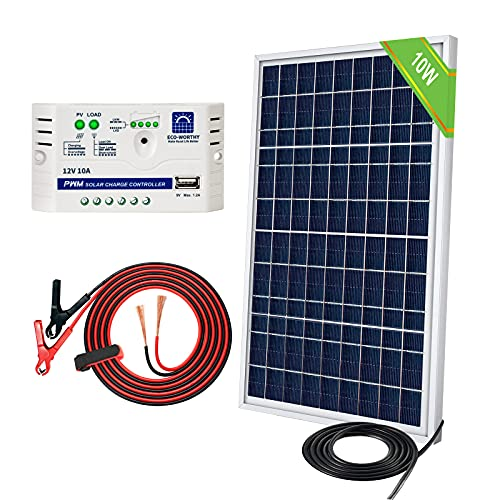 ECO-WORTHY Kit Panel Solar 10W 12V: 1 Panel Solar 10W + Controlador de Carga 10A + 1 par de Pinzas Cocodrilo para cargar las Baterías 12V de Autocaravana, Barco, Lámpara de Jardín