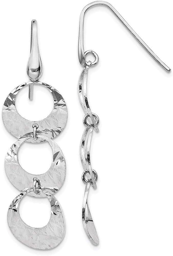 Earrings Free shipping on Sales posting reviews White Sterling Silver Drop Diamond-Cut Women'S Dangle