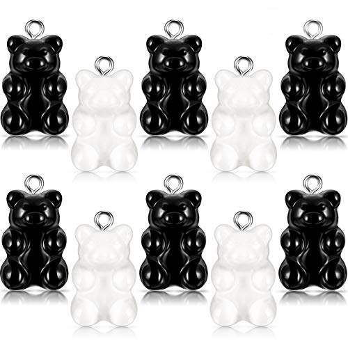 72 Pieces Candy Gummy Charms Bear Candy Gummy Resin Bear Pendant DIY Necklace for Children Girls, 2 Colors (Black, White)