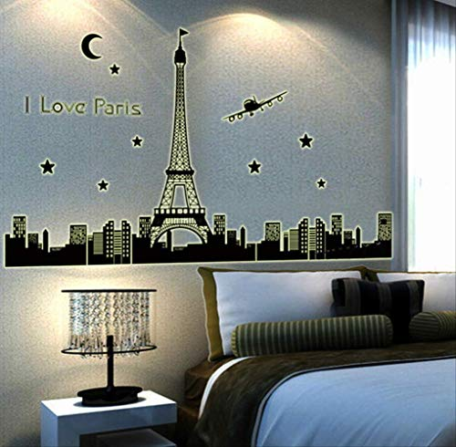Creative City Silhouette Parijs Tower Vliegtuig Night View Fluorescerende Sticker Slaapkamer Woonkamer nachtlampje Decoratieve Muursticker 60 * 90cm
